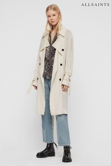 AllSaints Off White Lightweight Bria Trench Coat