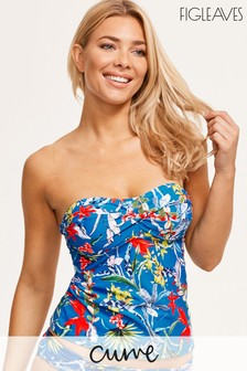 Figleaves Blue Botanical Garden Non Wired Tankini - Curve