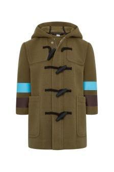 Boys Green Wool Duffle Coat