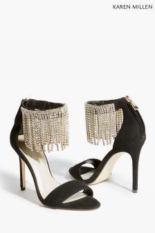 Karen Millen Black Crystal Fringe Sandal