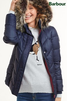 Barbour® Coastal Navy Downhall Quilted Coat
