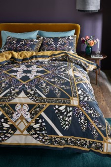 Cotton Sateen Kaleidoscope Butterfly Duvet Cover and Pillowcase Set