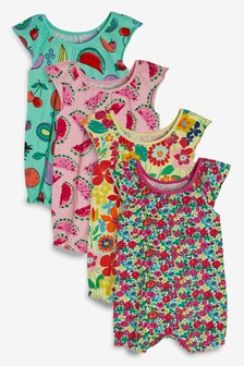 Floral And Fruit Print Rompers Four Pack (0mths-2yrs)