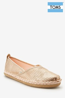 TOMS Rose Gold Metallic Slip-On Espadrille
