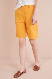 Linen Blend Knee Shorts