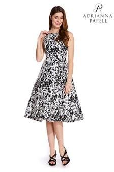 Adrianna Papell White Sleeveless Print Mikado Party Dress