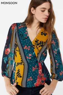 Monsoon Ladies Blue Peggy Patch Print Top