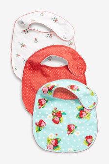 Strawberry And Floral Print Regular Bibs Three Pack