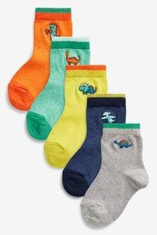 Пять пар носков с вышитыми динозаврами (Младшего возраста)