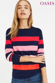 Oasis Natural Colourful Stripe Sweat