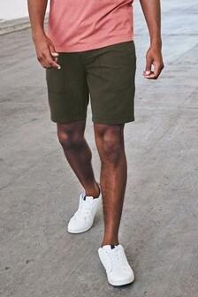 Chino-Shorts im Military-Look mit Gürtel