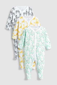 Safari Character Sleepsuits Three Pack (0mths-2yrs)