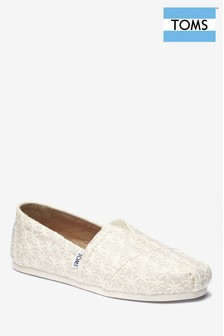TOMS White Daisy Embroidered Espadrille