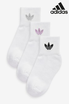 adidas Originals Kids White Mid Socks Three Pack