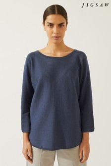Jigsaw Grey Double Faced Scooped Jumper