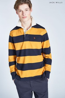 Jack Wills Navy/Yellow Camber Rugby Stripe Top