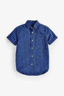 Яркая рубашка в мелкую клетку с коротким рукавом (3-16 лет)