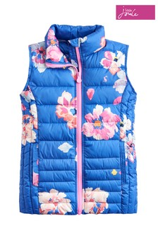 Joules Blue Croft Girls Packable Printed Gilet