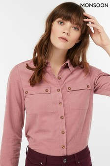 Monsoon Ladies Pink Carly Cord Shirt