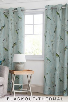 Cotton Sateen Chinoiserie Bird Blackout Eyelet Curtains
