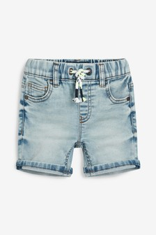 Shorts easy-on in denim e jersey (3 mesi - 7 anni)