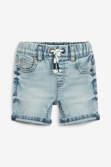 平織丹寧鬆緊短褲 (3個月至7歲)