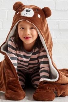 غطاء بقبعة صوفي للأطفال