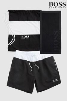 BOSS Black Swim Short, Bag And Towel Set