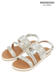 Monsoon White Indiana Asymmetric Iridescent Sandal