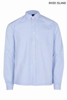 River Island Blue Stripe Blocked Shirt