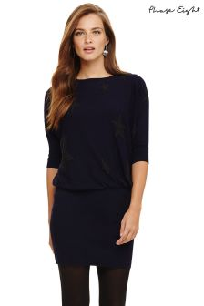 Phase Eight Blue Becca Star Jacquard Knit Dress