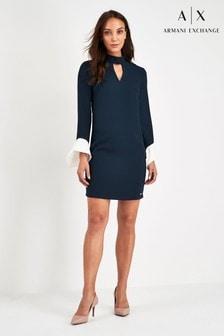 Armani Exchange Navy Cuff Dress