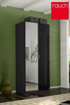 Courtney Dark Grey Glass Double Hinged Wardrobe by Rauch