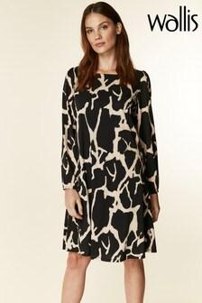 Wallis Black Animal Printed Jersey Swing Dress