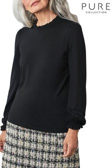 Pure Collection Black Ruffle Detail Jersey Top