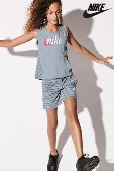 Pantalon scurt Nike Sportswear gri în dungi