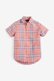 Short Sleeve Check Linen Blend Shirt (3-16yrs)