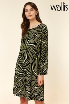 Wallis Green Zebra Swing Dress