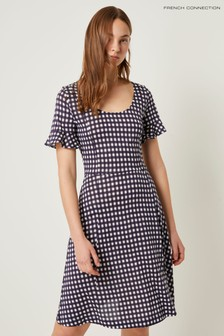 French Connection Blue Gingham Meadow Jersey Round Neck Dress