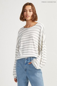 French Connection White Pearl Jersey Cropped Top