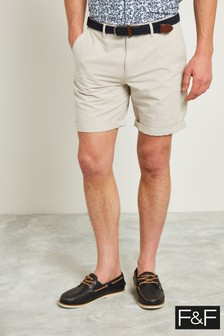 F&F Natural Stone Stripe Stretch Chino Short With Belt