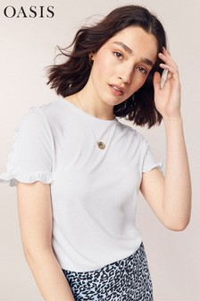 Oasis White Frill Sleeve Tee