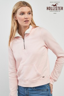 Hollister Pink Sherpa Half Zip Top
