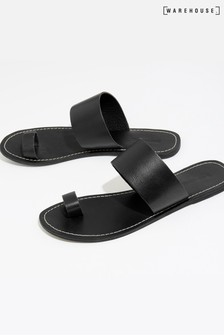 Warehouse Black Toe Thong Mule