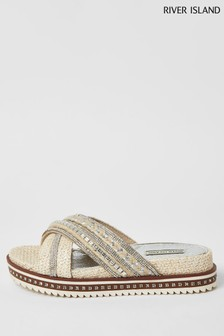 River Island White Cross Strap Flatform Sandals