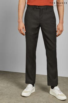 Ted Baker Grey Mumtro Slim Fit Textured Trousers