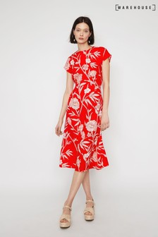 Warehouse Red Floral Midi Tea Dress
