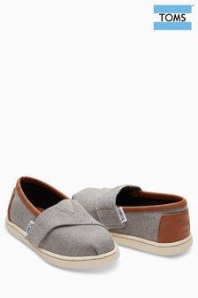 TOMS Grey Chambray Velcro Alpagata Slip-On Shoe