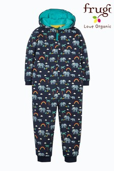 Frugi Organic Cotton Navy Elephants Cosy All-In-One