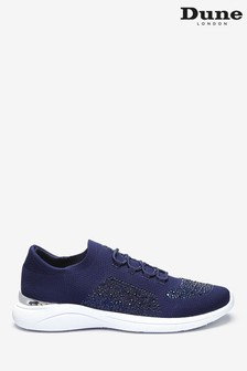 Dune London Blue Easy Lace-Up Fabric Embellished Trainers